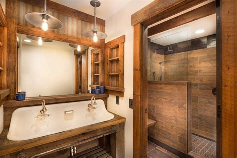 wood tile showers   bathroom