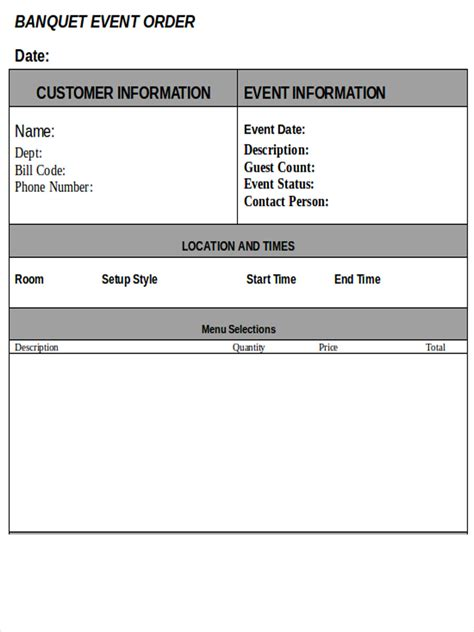 banquet event order 8 event order forms free sle exle format