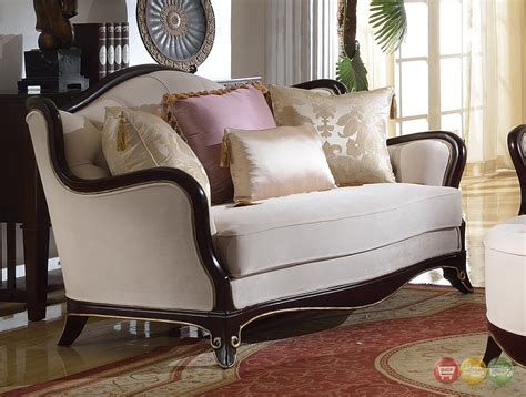 Upholstered Loveseat by Provencial Cabriole Style Chenille Upholstered Sofa
