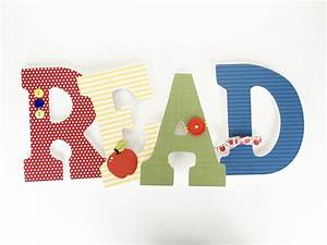 Read custom wooden letters nursery decor unisex bedroom for Read wooden letters