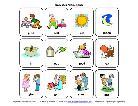 free mini set of opposites picture cards pinned by 479   edb29a9a5910aed8b6af410832d015f8