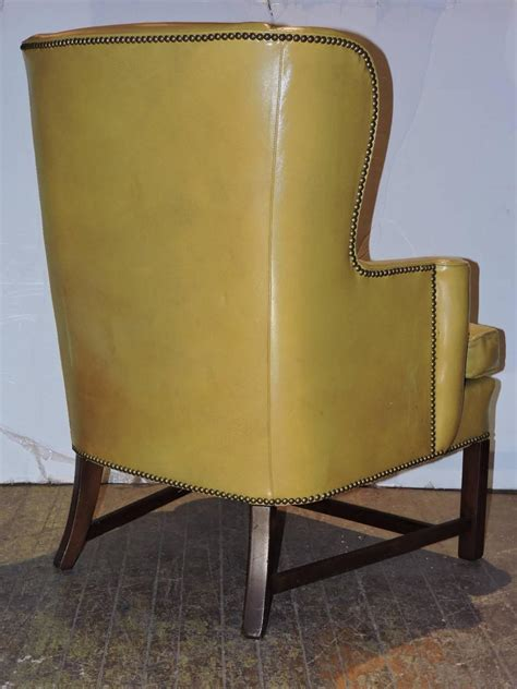 chippendale style mustard yellow wingback chair for sale