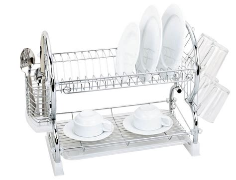 two tier dish rack 2 tier chrome dish drainer homevibe