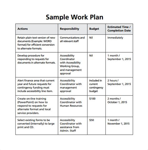Work Plan Template 18 Sle Work Plan Templates To Sle Templates