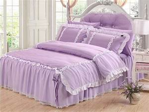 Romantic, Luxury, White, Lace, Bedding, Set, Korean, Purple
