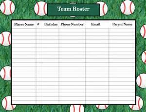 Printable Baseball Lineup Roster Template