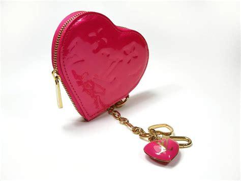 louis vuitton monogram vernis heart bag charm key chain holder pink  stdibs