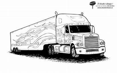 Semi Camion Trailer Remorque Dessin Imprimer Coloriage