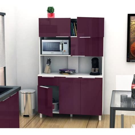 lova buffet de cuisine 120 cm aubergine haute brillance achat vente buffet de cuisine pas