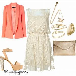 Lace Dress Coral Blazer Perfect Date Look Or Summer
