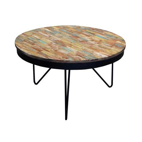 buffet cuisine en bois table basse ronde bois recyclé coloré