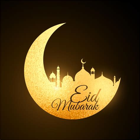 golden moon mosque design eid mubarak vector eid