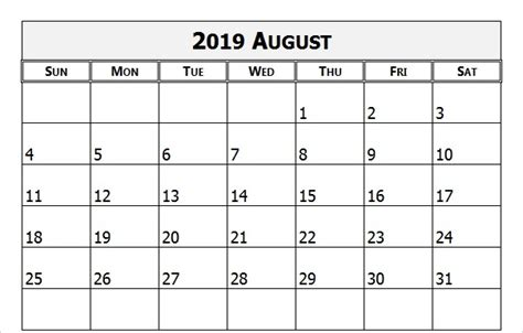 august calendar editable holidays