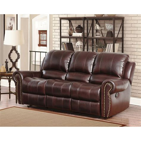 Top Grain Leather Loveseat by Abbyson Broadway Premium Top Grain Leather Reclining Sofa