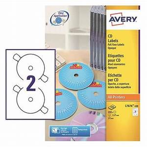 Avery white full face cd dvd laser label 2 per sheet pack for Avery disc labels