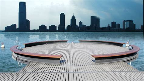 stock video  modern futuristic platform lake water view