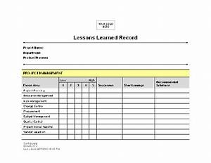 lessons learned record template for word 2003 or newer With project management lessons learnt template