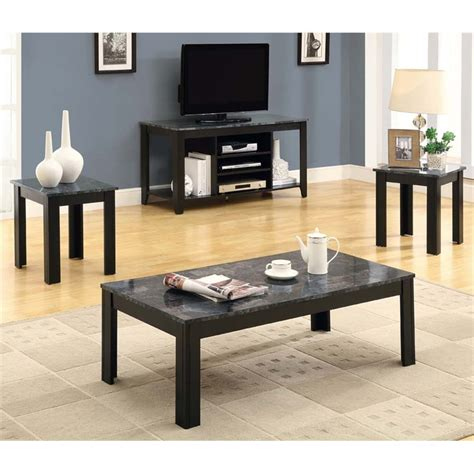 Save up to 30% off on select items. Monarch 3 Piece Faux Marble Top Coffee Table Set in Black and Gray - I 7843P