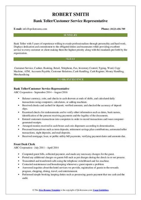 bank teller resume samples qwikresume