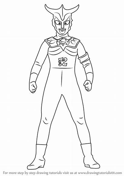 Ultraman Leo Drawing Draw Step Coloring Pages