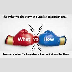What's Important The What Or How To Negotiate With Suppliers?