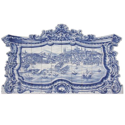 portuguese traditional painted azulejos tile mural