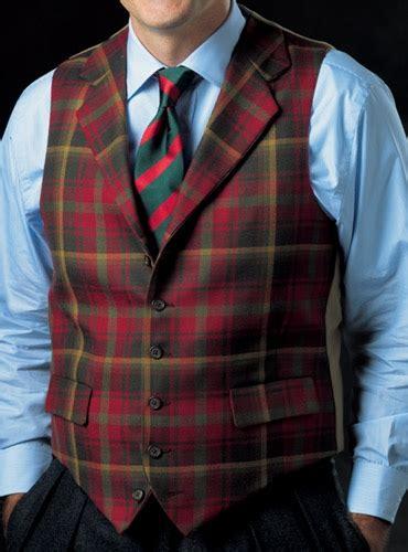 dark maple tartan wool waistcoat