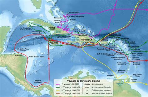 Christopher Columbus Voyages Map-fr.svg