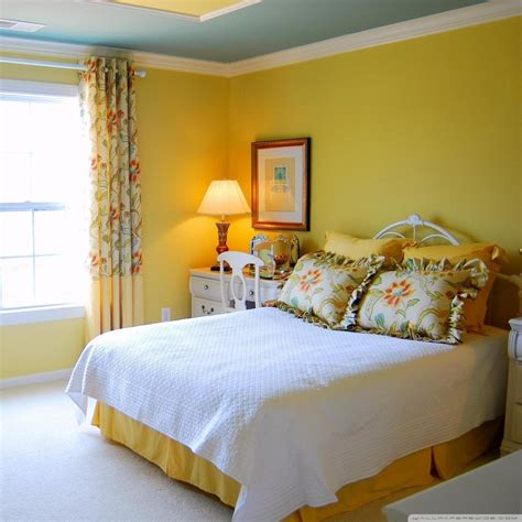 yellow bedroom design  hd desktop wallpaper   ultra