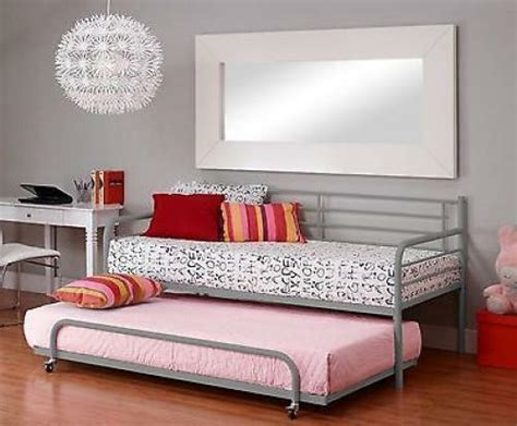 twin metal trundle  daybed kids loft bedroom bunk bed