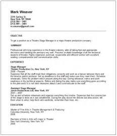 theatre resume exle media arts resume exles