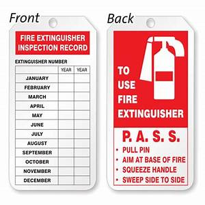 Plastic door tags sku tg 0250 for Fire extinguisher inspection tag template