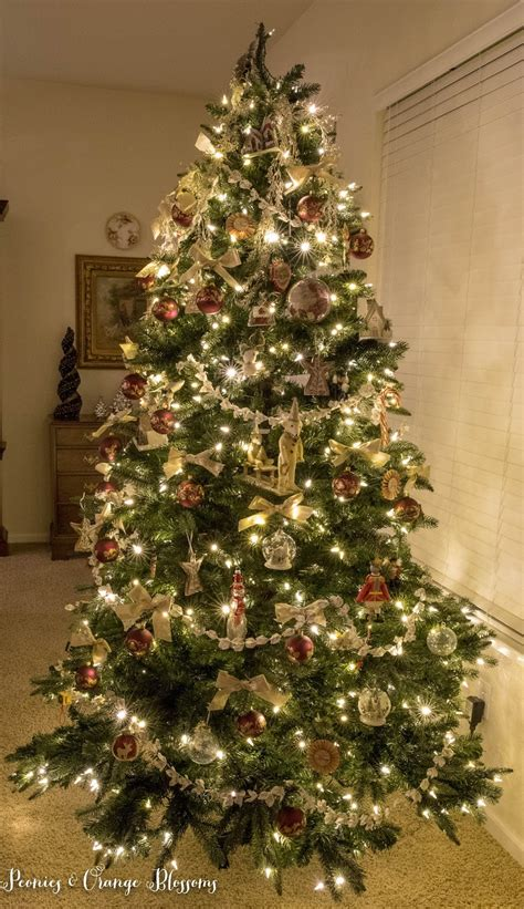 peonies and orange blossoms classic vintage christmas tree