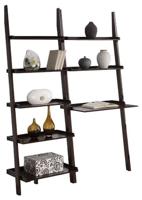 leaning ladder bookshelf with laptop desk cappuccino 5 tier 2 piece leaning ladder shelf with laptop