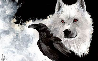 Wolf Raven Wallpapers Drawn Wolves Ravens Dark