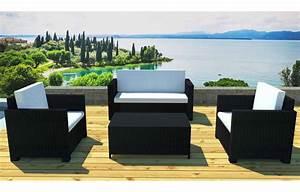 Salon Jardin Resine Tressée : salon de jardin r sine tress e noire canap 2 fauteuils et ~ Premium-room.com Idées de Décoration