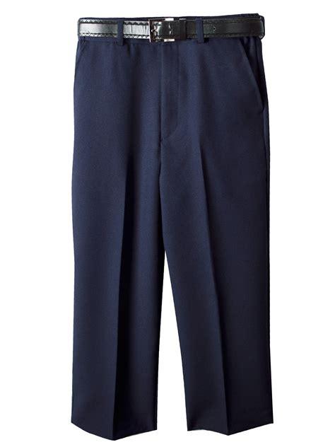 spring notion boys flat front navy blue dress pants  belt
