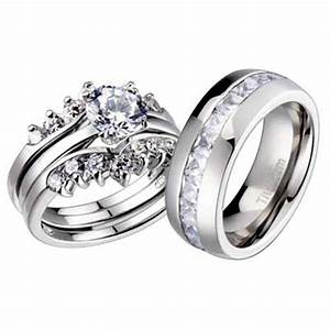 His and hers wedding rings 4 pcs engagement cz sterling for Wedding and engagement ring set