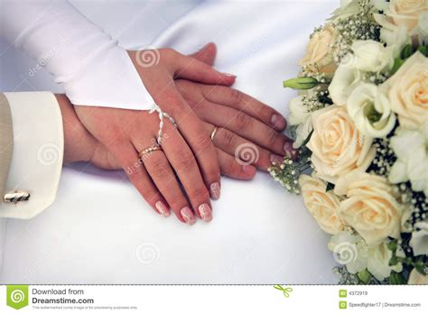 Newly Married Couple Holding Hands Royalty Free Stock