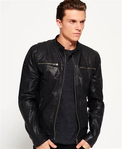 superdry veste de motard real hero vestes en cuir pour