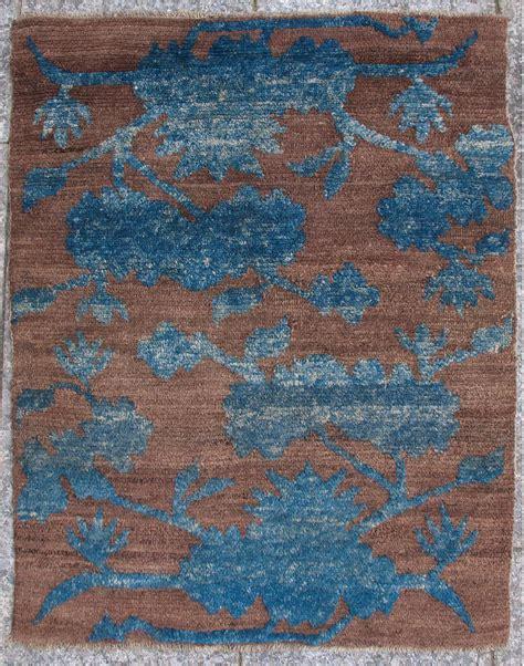 Rare Antique Brown Blue Tibetan Sitting Rug, Collectors