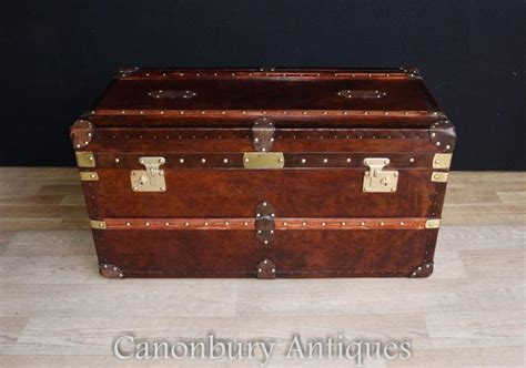 leather steamer trunk coffee table english steamer trunk leather luggage box case coffee table