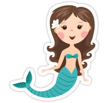 cute cartoon mermaid  brown hair stickers sticker