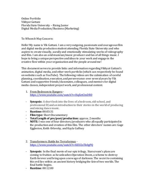 Cover Letter Sle For Portfolio by Portfolio Cover Letter