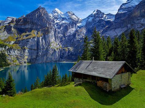Wallpaper Switzerland Nature Spruce Mountains Lake Landscape
