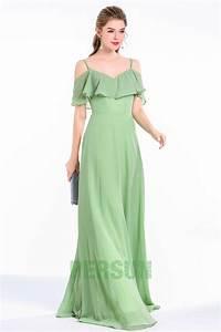 Robe Pour Temoin De Mariage : robe verte mousse longue cort ge col v volants fluide ~ Melissatoandfro.com Idées de Décoration