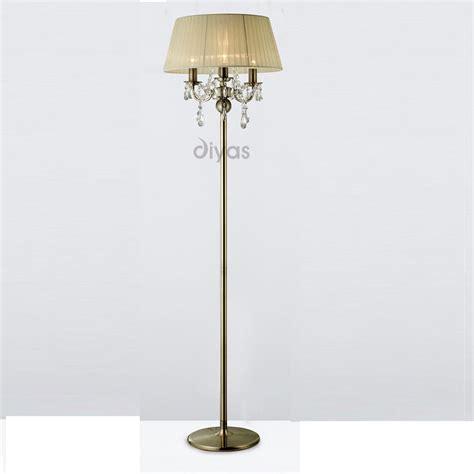 three light floor l diyas uk olivia il il30066 cr antique brass crystal three