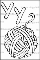 Yarn Letter Simple Outline Coloring Flashcard Alphabet Learning sketch template