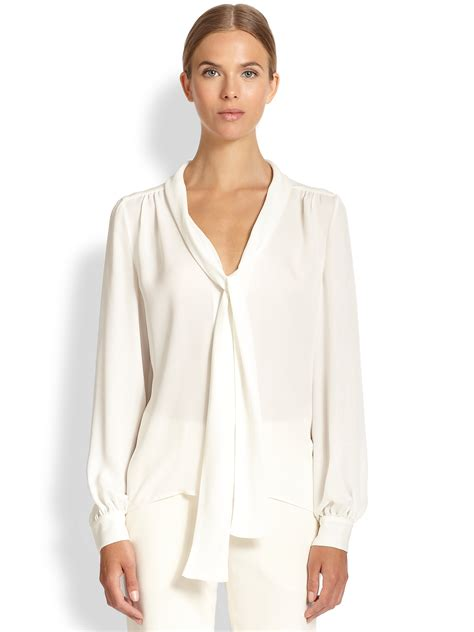 tie neck blouses tamara mellon silk tie neck blouse in lyst