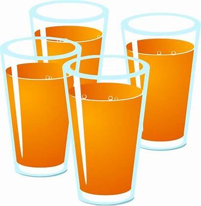 Juice Clipart Orange Drink Glasses Clip Vector